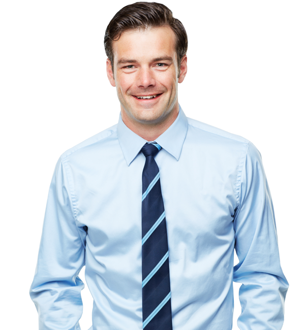 Happy looking man in a blue shirt and tie