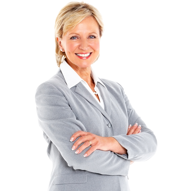 Happy looking lady in a grey suit with arms folded