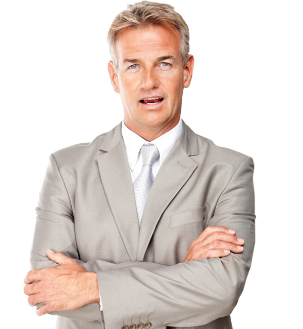 Happy looking man in a suit with arms folded